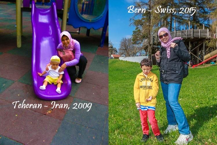 Bersama anak pertama. Usia setahun sempat tinggal di Tehran.